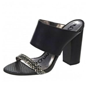 Sam Edelman Black Leather Backless Heeled Sandal